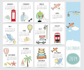 Travel monthly calendar 2019 with bus,world,airplane,balloon,car,suitcase,sea,beach,star fish and coconut tree