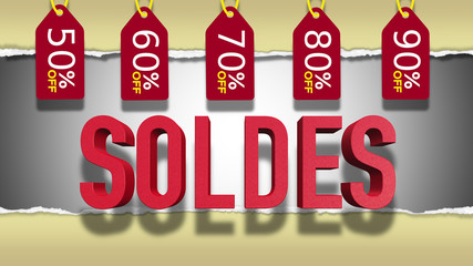 French Sale 3D Text
