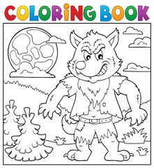 Door stickers For Kids Coloring book werewolf topic 2