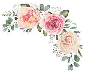 Fototapeta Watercolor floral bouquet composition with roses and eucalyptus obraz