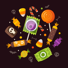 Bunch of Halloween sweets and candies.