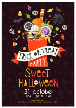 Editable vector Halloween poster with a bag full of sweets and candies. Trick or treat!