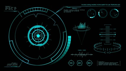 Futuristic hud user interface black. Vector illustration.