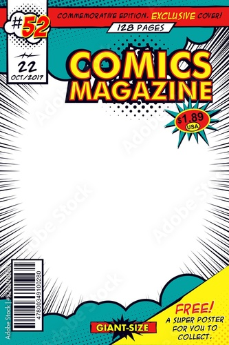 Comic book cover  Vector art with comic concept