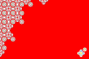 Arabesque geometric pattern in the form of flowers on a red background