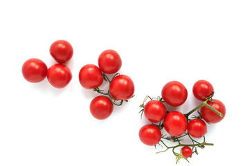 Fototapete -  cherry tomatoes isolated on white background, top view, flat layout.