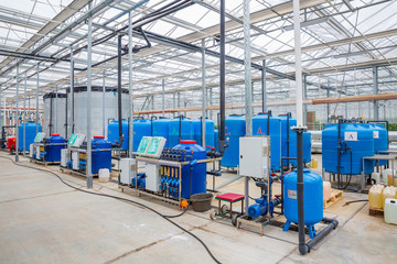corridor in an industrial greenhouse