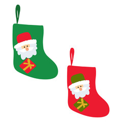 vector, isolated, red and green christmas sock