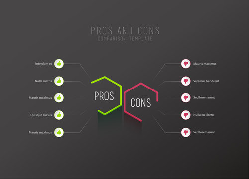 Pros and Cons comparison vector template with green and pink hexagons and circles and place for your comparison text. Dark version