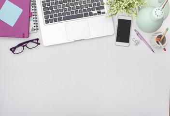 Top view home office desk header