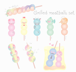Set of Kawaii grilled meatballs cartoon.Cute animal character design in pink,yellow,blue,green and rainbow pastel color.Facial food emoticon.Vector illustration.