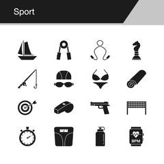 Sport icons. Design for presentation, graphic design, mobile application, web design, infographics, UI.