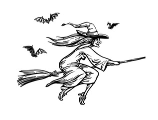 Witch flying on broomstick. Halloween sketch, vector illustration