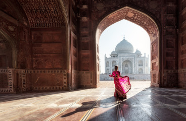 Woman in red saree/sari in the Taj Mahal, Agra, Uttar Pradesh, India Wall mural