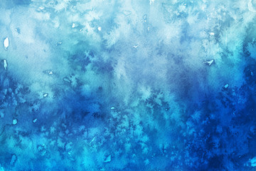Blue winter watercolor ombre leaks and splashes texture on white watercolor paper background. Painted ice, frost and water.