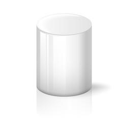 White cylinder on background