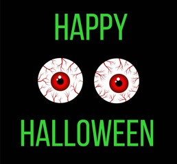 Happy Halloween Greeting with Scary Blood Filled Eyes
