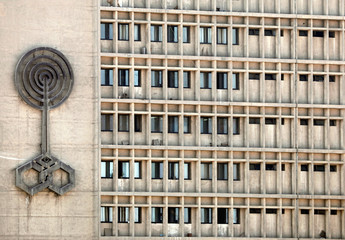 The logo of Egyptian Radio and Television Union (ERTU) headquarters is seen at offices building in the capital of Cairo