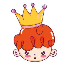 cute boy head with hairstyle and crown