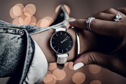 Beautiful watch on woman hand