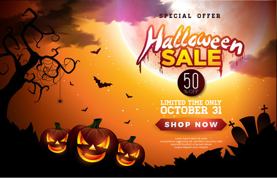 Halloween Sale banner illustration with pumpkins, moon and flying bats on orange night sky background. Vector Holiday design template with typography lettering for offer, coupon, celebration banner