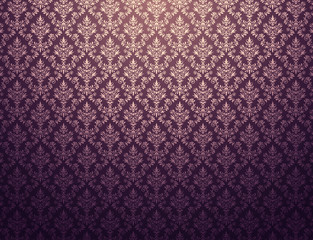 Purple wallpaper with gold damask pattern