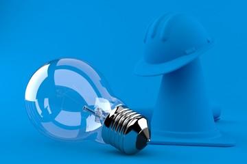 Under construction background with light bulb
