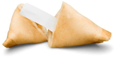 Broken Fortune Cookie with Blank Piece of Paper