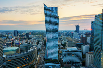 Aerial View of Warsaw Center the new Town - Skyline of Warsaw during sunset Time