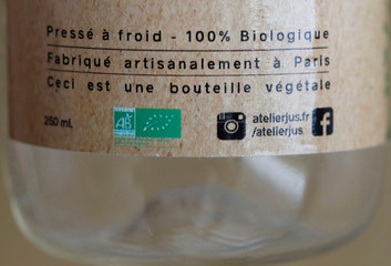 A VeganBottle with zero oil 100% biodegradable compostable made from sugar cane is seen on the production line at the Lyspackaging factory in Saintes