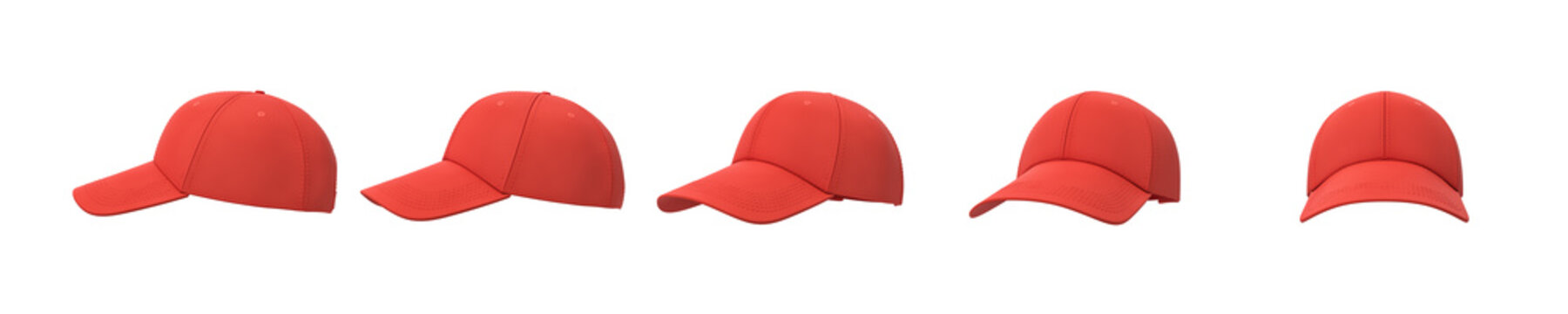 3d rendering of five red baseball caps shown in one line from side to front view on a white background.