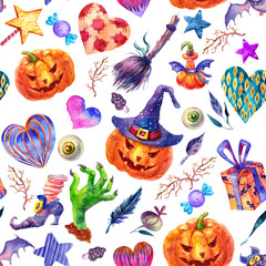 Watercolor Seamless Happy Halloween Pattern. Broom, pumpkin, hat, candy, gift, heart, bat, magic wand, mushroom, poison illustrations isolated on white background. Perfect for Halloween greeting card