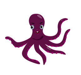 vector illustration of a pretty cartoon octopus isolated