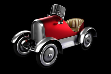 3d rendering the low key shot of red retro pedals car concept design isolated on black background with clipping paths.