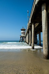 Huntington Beach Pier with blue sky