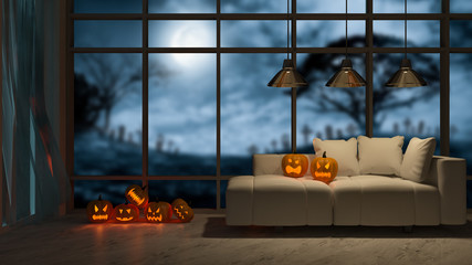 3d rendering image of interior design in halloween festival. Pumpkin head on sofa which have big window view as background, Trick or thread.