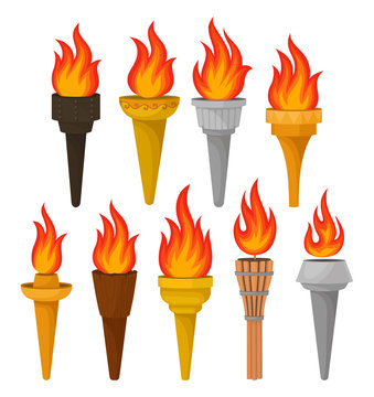 Set of different torches with brightly burning fire. Hot red-orange flame. Flat vector for mobile game or advertising poster