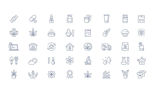 Cannabis products, growing Vector icon set