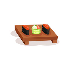 Tasty sushi rolls on wooden plate. Traditional Asian dish. Flat vector for promo flyer, recipe book or menu