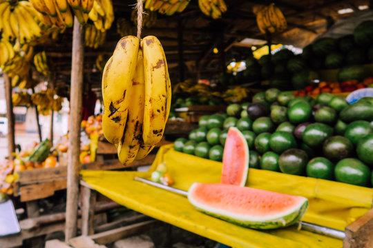 Fruit stand on colorful market in Nairobi, Kenya