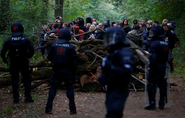 """Activists are seen in the """"Hambacher Forst"""" as police attempt to clear the area in Kerpen-Buir near Cologne"""