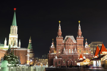 Night winter Moscow cityscape at Christmas and New Year time in December. Kremlin, Red Square and GUM in center of Moscow, Russia.