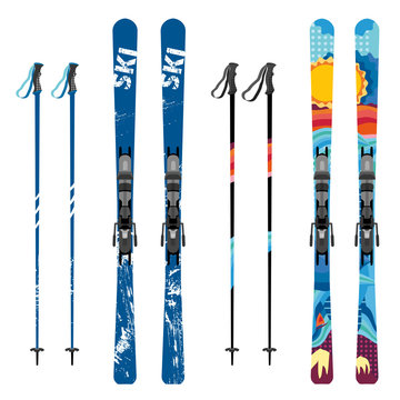 Vector mountain ski and sticks detailed on white background. Mountain skis and sticks sport equipment