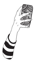 Hand drawn girl hand with smartphone. Coloring book page. Black and white Hand-drawn vector illustration. Zentangle style.