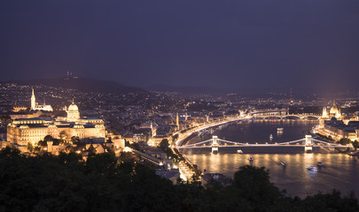 Night cityscape of old european town Budapest, Hungary