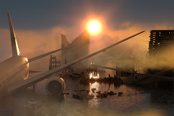 3D Illustration of a Ruins of a city. Apocalyptic landscape. apocalyptic sunset concept Wall mural