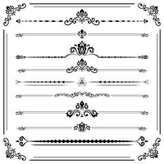 Vintage set of decorative elements. Horizontal separators in the frame. Collection of different ornaments. Classic black and white patterns. Set of vintage patterns