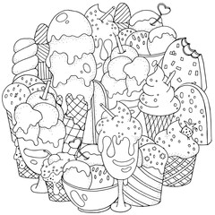 Coloring book page. Set of vector sketches: ice cream in wafer cone and bowl, frozen creamy desserts, eskimo in chocolate glaze, fruit ice.