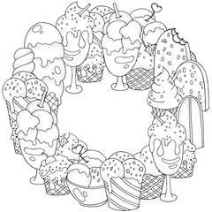 Coloring book frame. Set of vector sketches: ice cream in wafer cone and bowl, frozen creamy desserts, eskimo in chocolate glaze, fruit ice.