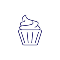 Cupcake with cream line icon. Sweet food, dessert, bakery. Restaurant concept. Vector illustration can be used for topics like food, unhealthy eating, confectionary